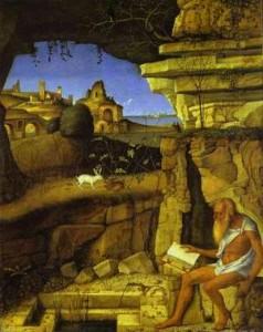 Св. Иероним, читающий на фоне пейзажа